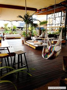 Urban Rooftop Garden and Cafe in Johannesburg, South Africa - wooden pallets with cushion turned into floor seating Garden Cafe, Rooftop Garden, Cafe Interior, Interior Design, African House, Cozy Cafe, Floor Seating, Outdoor Spaces, Outdoor Decor