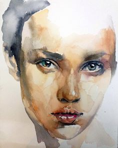 """Series """"sight"""" 9 painting by andrei sharov saatchi art Watercolor Portrait Tutorial, Watercolor Portrait Painting, Watercolor Art Face, Portrait Art, Watercolor Illustration, Painting & Drawing, Watercolor Trees, Simple Watercolor, Watercolor Landscape"""
