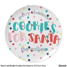 Merry and Bright Cookies for Santa Plates