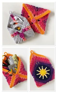 Free Crochet Pouch Tutorial by Vivid Kreations. Free Crochet Pouch Tutorial by Vivid Kreations. Annette Bauer Häkeln u. Stricken Perfect for earbuds crochet notions bits and […] Homes Diy layout Crochet Pouch, Crochet Buttons, Crochet Purses, Crochet Gifts, Crochet Hooks, Crochet Bags, Crochet Coin Purse, Point Granny Au Crochet, Crochet Squares