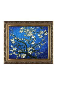 Branches of An Almond Tree in Blossom (Sapphire Blue) Framed Hand Painted Oil on Canvas
