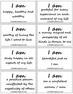 "EXCITING NEWS!! Our newest program titled ""I AM Happy, Healthy & Wealth"" is nearing completion, and I'm very excited! ""I AM"" affirmations are the most powerful and effective affirmations you can say to yourself. To start your ""I AM"" journey, begin by first becoming very aware of what follows whenever you say ""I AM"", because that IS what you are manifesting into your life. http://www.loaaffirmations.com.  Join us on FaceBook at http://www.facebook.com/loaaffirmations"