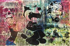 INDO Street Artist  Felix & Friends  Original Mixed Media on Canvas 61cm x 91cm