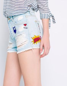 Pull&Bear - woman - denim collection - printed denim shorts - pale blue - 09692301-V2016