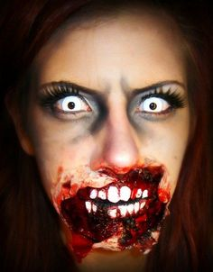 It looks like a zombie took a nice chunk out of her `mouth & chin' before turning herself.  A gruesome SFX zombie makeup idea / Paired nicely with some all-white zombie FX lenses => http://www.pinterest.com/pin/350717889705763104/ #AcneAndOilySkin