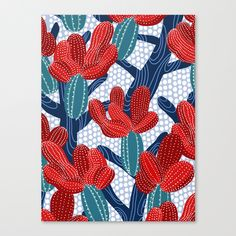 Winter Cactus Stretched Canvas by frameless | Society6