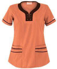Style # UA524C: Peach Soda w/ Coffee Bean: Butter-Soft Scrubs by UA™ Lace-Up Neck Scrub Top