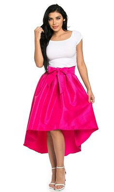 High-Low Taffeta Pleated Midi-Skirt in Fuchsia (Plus Sizes Available) Hi Low Skirts, Women's Skirts, Pink Pleated Skirt, Ruffle Skirt, Taffeta Skirt, Calf Length Skirts, Tie Skirt, High Waisted Skirt, Polyvore