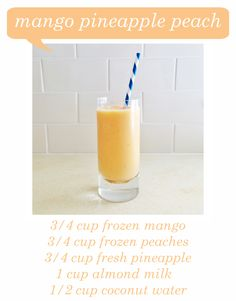 Mango Pineapple Peach Smoothie. I made with both frozen and fresh peaches, frozen mango, and fresh pineapple. Almond milk. No coconut water. Delicious! #accomplished