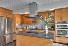 Contemporary Kitchen with Exposed beam, Flush, Durasupreme Cabinets - Metro Horizontal Style Panel, L-shaped, Glass panel