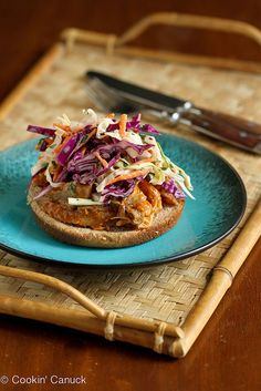 Slow Cooker Shredded Barbecue Chicken Recipe with Kefir Cilantro Slaw   cookincanuck.com #slowcooker #healthyeating #chicken