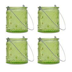 Green Fleur-de-Lis Hanging Tealight Holders