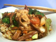 Chinese Vegetable Stir Fry from Food.com:   								My daughter found this on ABCNEWS.com and has made it several times now. Sometimes we are missing an ingredient the recipe calls for so we just add something different. We use a 4 ounce can of sliced mushrooms instead of the shitake. We also use frozen broccoli and snow peas to speed this recipe up.