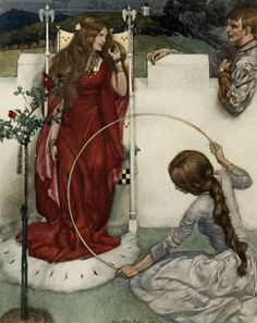 """Illustration from """"Le morte d'Arthur - the book of King Arthur and of his noble knights of the round table, volume I' by Sir Thomas Malory, Knt; illustrated by William Russell Flint. Published 1910-11 by Philip Lee Warner"""
