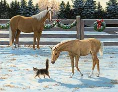 'Horses & Cat' by Persis Clayton Weirs Original Paintings