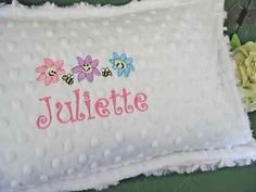 Travel or stroller pillow / custom personalized embroidery minky pillow bees