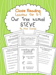 Close Reading ~ Our Tree Named Steve