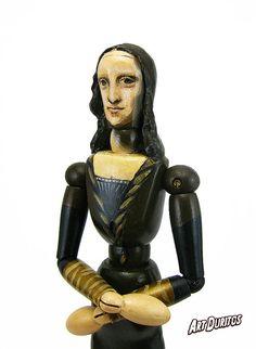 The Mona Lisa Art Doll - Sculpture - Articulated Wooden Figure - Unusual Art - Original Pop Art - Hand painted