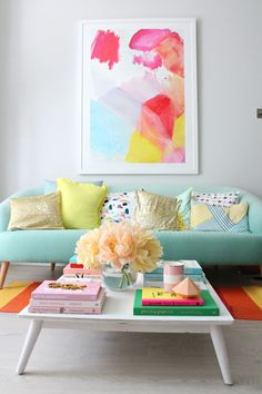 """The colour in this is harmony to my eyes! Blues, pink and green; all the flavours you want for your summer home!  """" Fresh and Pastel: Style Your Living Room In Mint Hues"""""""