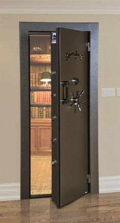 AMSEC Vault Door Please note that the LP Redundant Lock cannot be installed on a left hand inward swing door. It can be installed on right inward swing door as well as both left and right hand outward swing doors. Are you looking to secure a room Security Room, Home Security Systems, House Security, Security Safe, Safe Door, Safe Room Doors, Safe Vault, Gun Vault, Panic Rooms