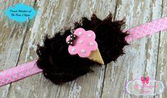 ICE CREAM Shabby Flower HEADBAND Pink White Brown HANDMADE Girls Baby Toddler #Handmade