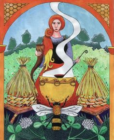 The bee goddess Beyla, from the 'Gods of England' series by artist Thorskegga Thorn. Thorskegga has started a series of paintings depicting the gods/goddesses worshiped by the Anglo-Saxon and Norse settlers in England. Beyla is one of the two servants of Frey, the exact meaning of her name is not clear, the academics disagree, Simek suggests 'cow' while Dumezil suggests 'bee'. Her partner is Byggvir, his name means 'corn'. Thorshof members regard Beyla as the bee goddess with influence over…