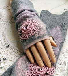Варежки, митенки, перчатки ручной работы. Ярмарка Мастеров - ручная работа. Купить митенки валяные ГЛАМУРИКИ  бохо. Handmade. Комбинированный