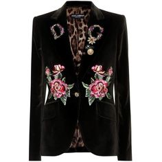 Dolce & Gabbana Embellished Velvet Blazer (16.460 BRL) ❤ liked on Polyvore featuring outerwear, jackets, blazers, green, embellished blazer, blazer jacket, velvet jacket, green blazer jacket and green velvet jacket