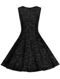 Plus Size Lace Cocktail Short Formal Dress - Full Black - 4xl