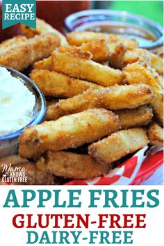 Gluten free meals 248683210662141818 - An easy recipe for apple fries. This Lego Land apple cinnamon fries copycat recipe is a fun dessert that is naturally gluten-free and dairy-free. Source by jillison Dessert Sans Gluten, Sans Gluten Sans Lactose, Gluten Free Sweets, Gluten Free Baking, Apple Recipes Gluten Free, Gluten And Dairy Free Desserts Easy, Recipes For Apples, Dairy Free Gluten Free Desserts, Recipes For Desserts