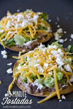 These oven baked tostadas are a complete meal, and will have dinner on the table in just ten minutes - they are so yummy!: