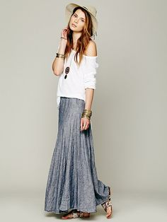 Free People Worker Stripe Chambray Maxi,