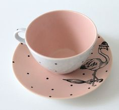 Dapper Flamingo teacup and saucer