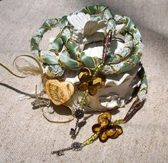 Handfasting Cord w Keys and Heart in Pale Sage Ivory Gold Pagan Wiccan Wedding