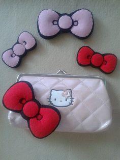 kitty bows...handmade felt plush Handmade Felt, Coin Purse, Plush, Kitty, Bows, Wallet, Purses, Little Kitty, Arches