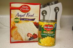 Angel Food Cake Mix and a can of Pineapple.  That's it - love it!