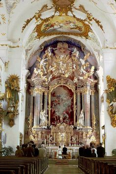 Rottenbuch Abbey, Bavaria, Germany with 18th century interior decoration painting by Matthäus Günther and stuccoist Josef Schmuzer #Rococo