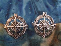 Nautical Steampunk Compass Cufflinks Silver Mens by AGothShop, $15.00