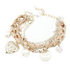 Stilvolle Damen Schmuck Legierung Metal Heart Perlen Armband (Rosa)
