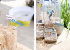 Jars of sand and sea water for a nautical party