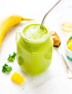 A delicious and creamy green kale pineapple smoothie with banana and Greek yogurt. The perfect healthy breakfast smoothie recipe! Filled with healthy protein, nutrients, and will keep you full for hours!