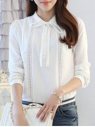 SHARE & Get it FREE | Bow Collar Long Sleeve White Hollow Out Splicing BlouseFor Fashion Lovers only:80,000+ Items • New Arrivals Daily • Affordable Casual to Chic for Every Occasion Join Sammydress: Get YOUR $50 NOW!