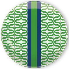 IHR Rosanne Beck Jacki Blue Green Geometric Print Melamine Salad Dessert Plates RB15109