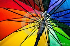 Colored umbrella, opened, inside is visible