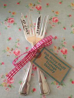 Cake forks  handstamped vintage cutlery www.oohshinystuff.co.uk