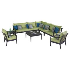 Escape to your own backyard with the Astoria 9 piece Sectional and Club Chair Set in Ginkgo Green