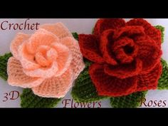Crochet – Como hacer flores rosas con hojas a Crochet paso a paso en punto tunecino tejido tallermanualperu How to make roses flowers with Crochet leaves step by step in tunisian knitting tallermanualperu Crochet Zig Zag, Crochet Puff Flower, Crochet Flower Tutorial, Crochet Leaves, Crochet Flower Patterns, Tunisian Crochet, Flower Applique, Love Crochet, Crochet Motif