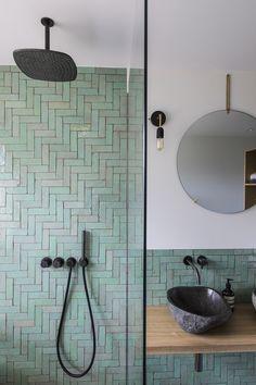 Family Bathroom, Modern Bathroom, Small Bathroom, Moroccan Bathroom, Bathroom Green, Bohemian Bathroom, Bathroom Vintage, Minimal Bathroom, Moroccan Tiles