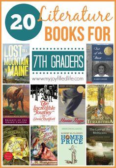 20 Literature Books for Graders - My Joy-Filled Life - Grade English Language Arts - 7th Grade Ela, Seventh Grade, Ninth Grade, Kids Reading, Teaching Reading, Reading Lists, Learning, 7th Grade Reading List, Reading Resources