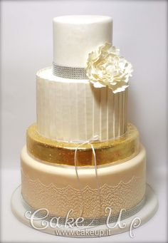 Golden foil wedding cake